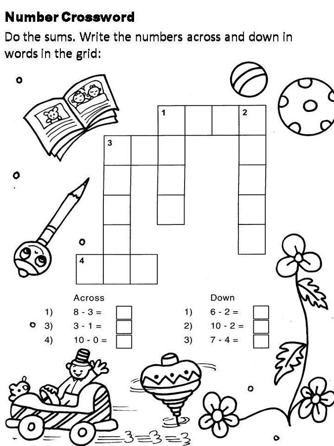 Crosswords For Kids Number