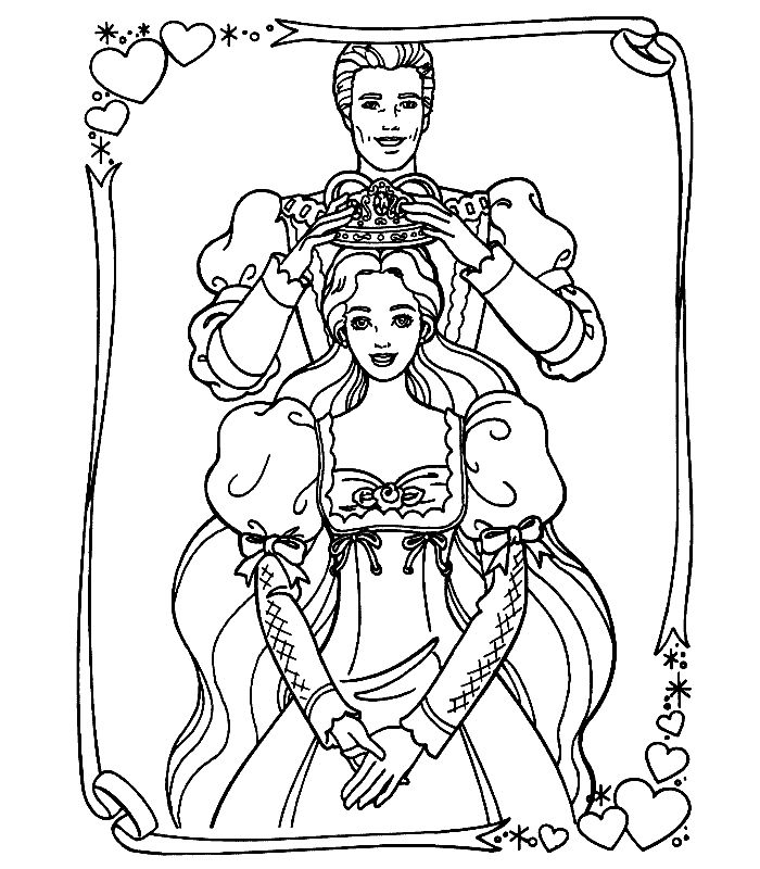 Crowning Barbie Princess Coloring Pages