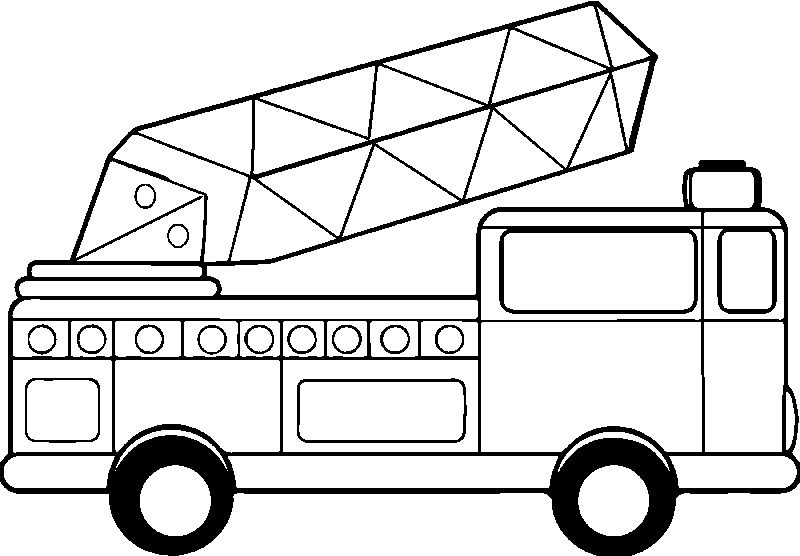 Crystal Fire Truck Coloring Page
