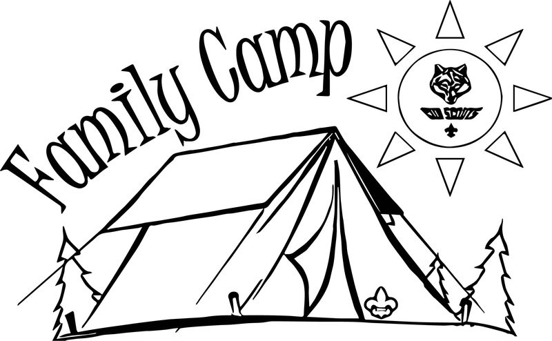 Cub Family Camp Camping Coloring Page
