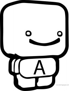 Cube figure a letter coloring page