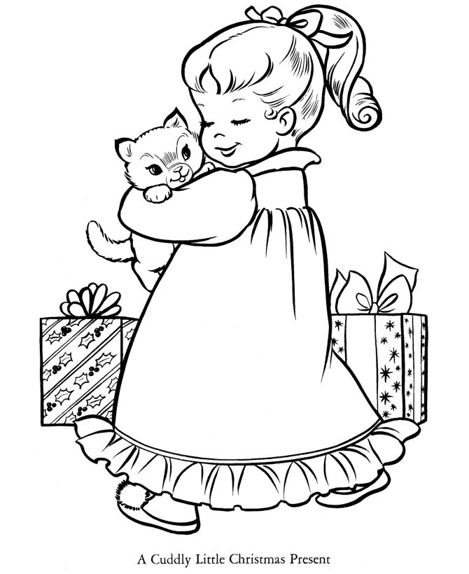 Cuddly Christmas Present Coloring Page 001