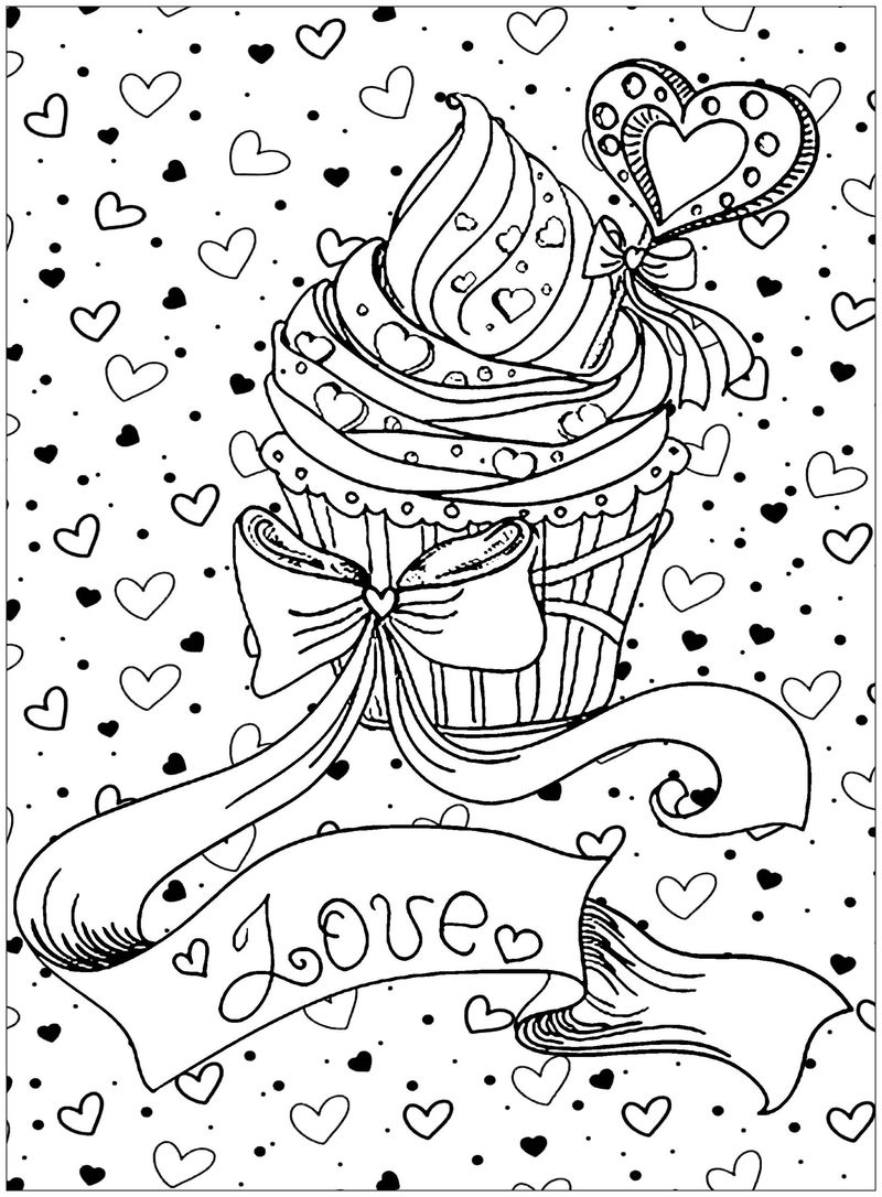Cupcake Valentines Day Coloring Page