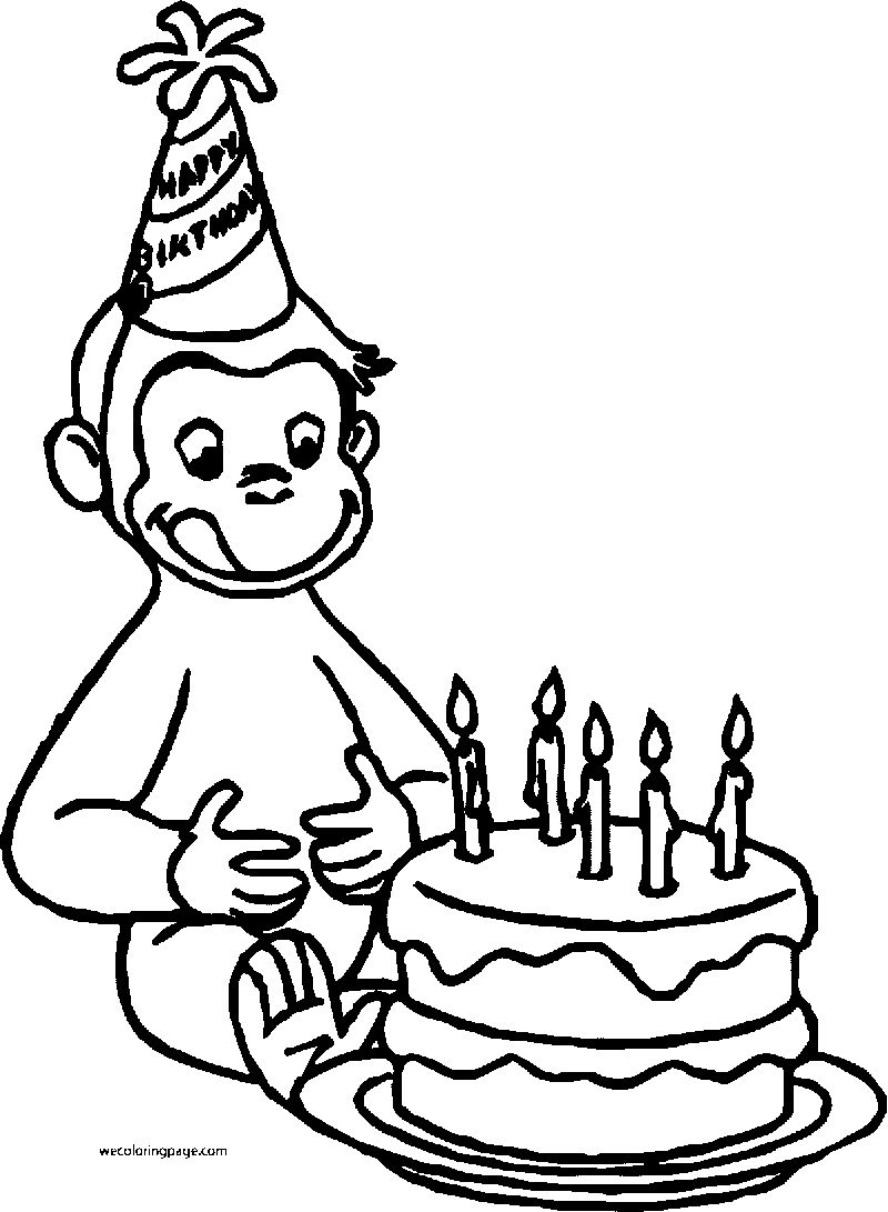 Curious George Monkey Cartoon Happy Birthday Coloring Page