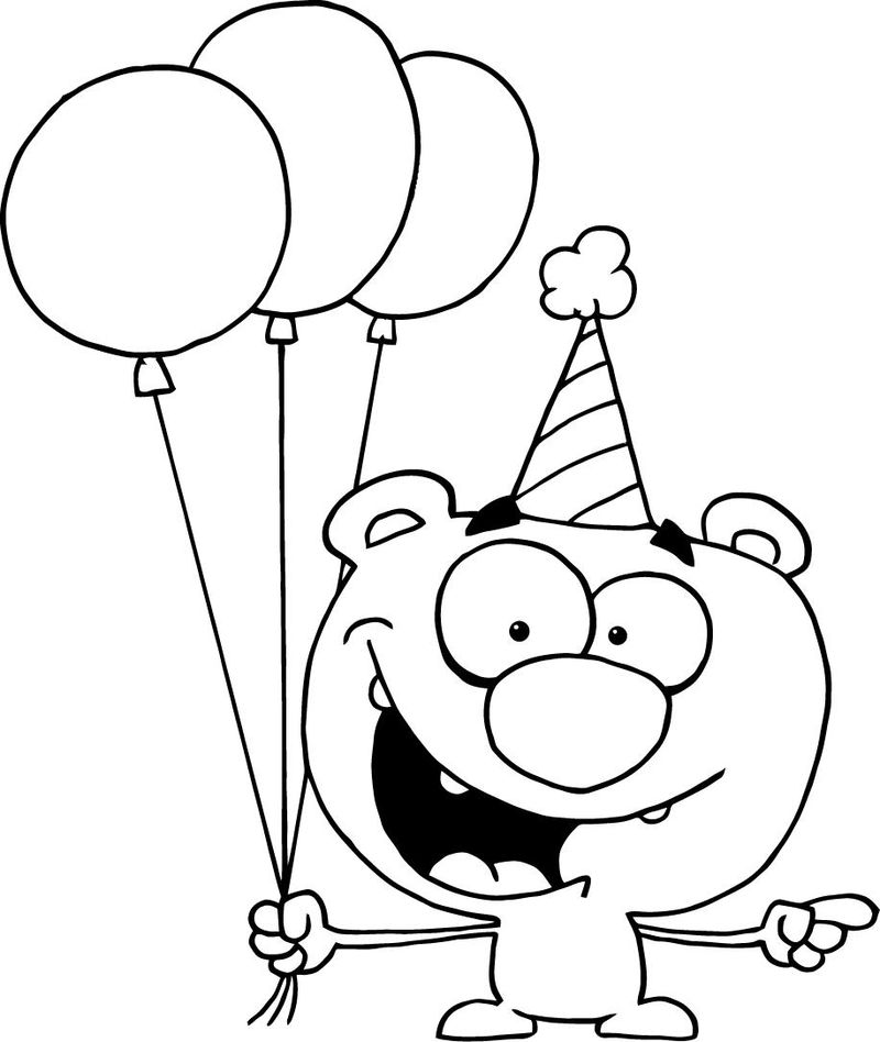 Cute Animal Birthday Coloring Page