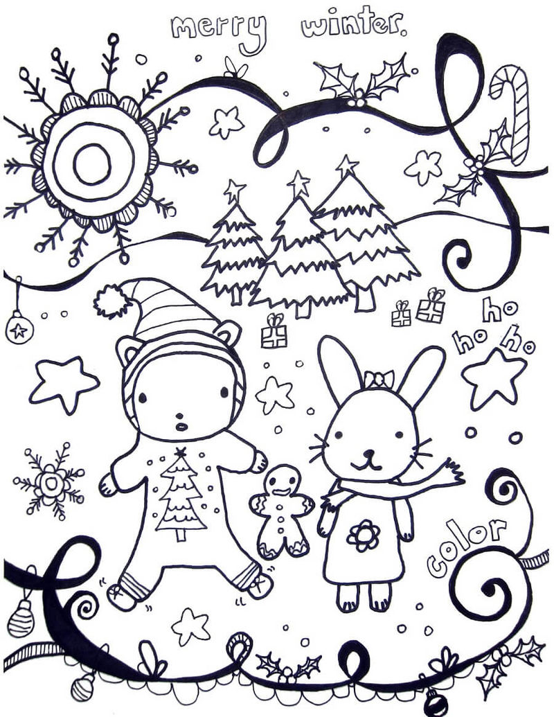 Cute Animals Saying Merry Winter Coloring Page - Coloring ...