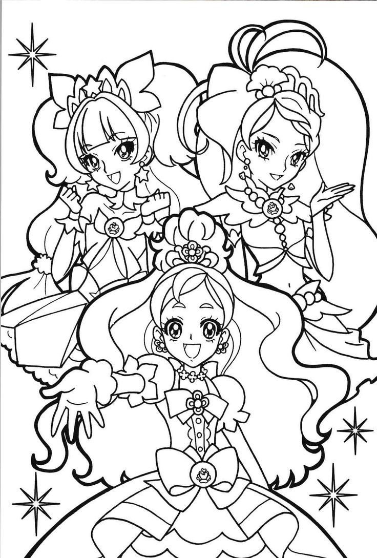Cute Anime Princesses Coloring Pages