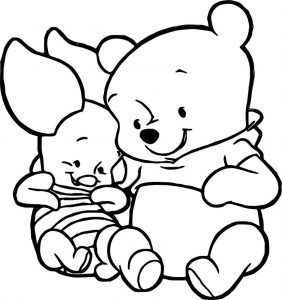 Cute baby piglet winnie the pooh coloring page