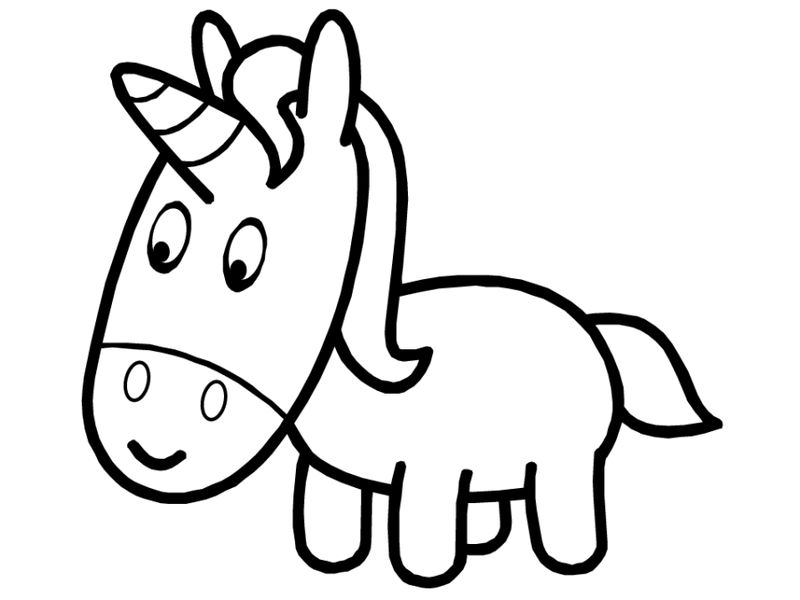 Cute Baby Unicorn Coloring Page For Kids