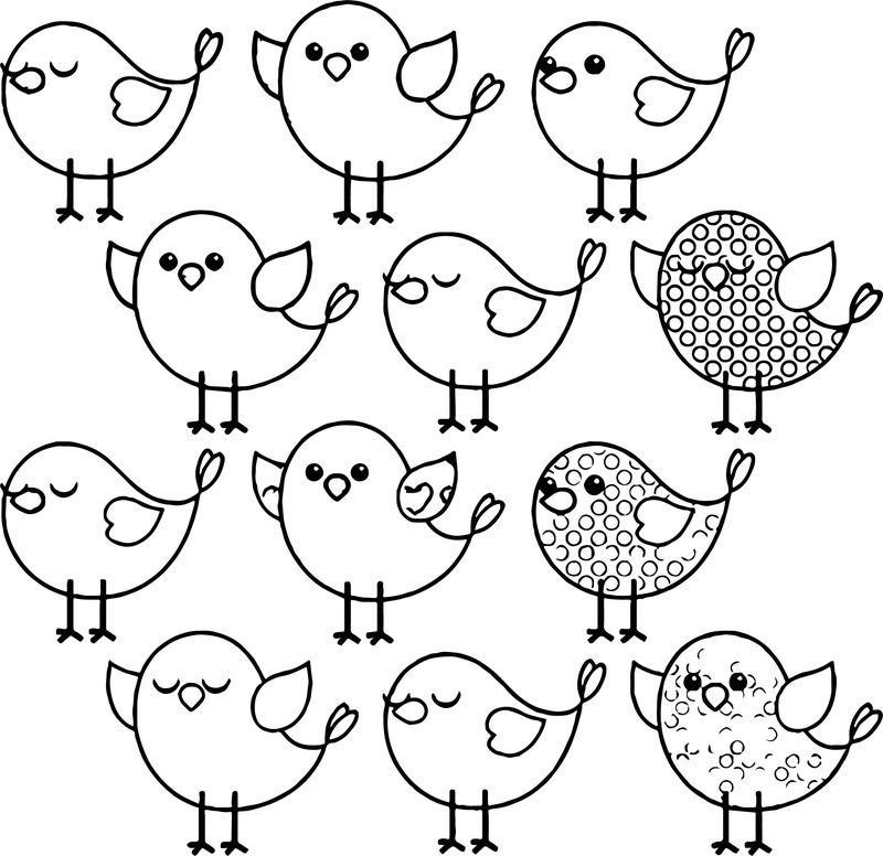 Cute Birds Coloring Page - Coloring Sheets