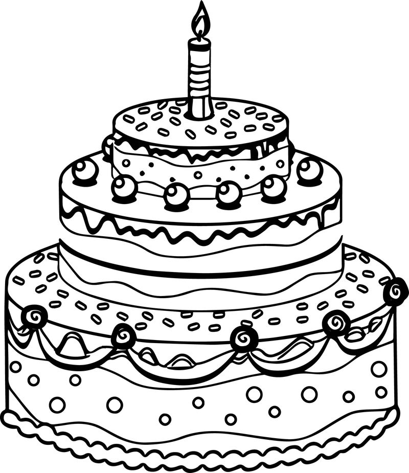 Cute Birthday Cake Coloring Page