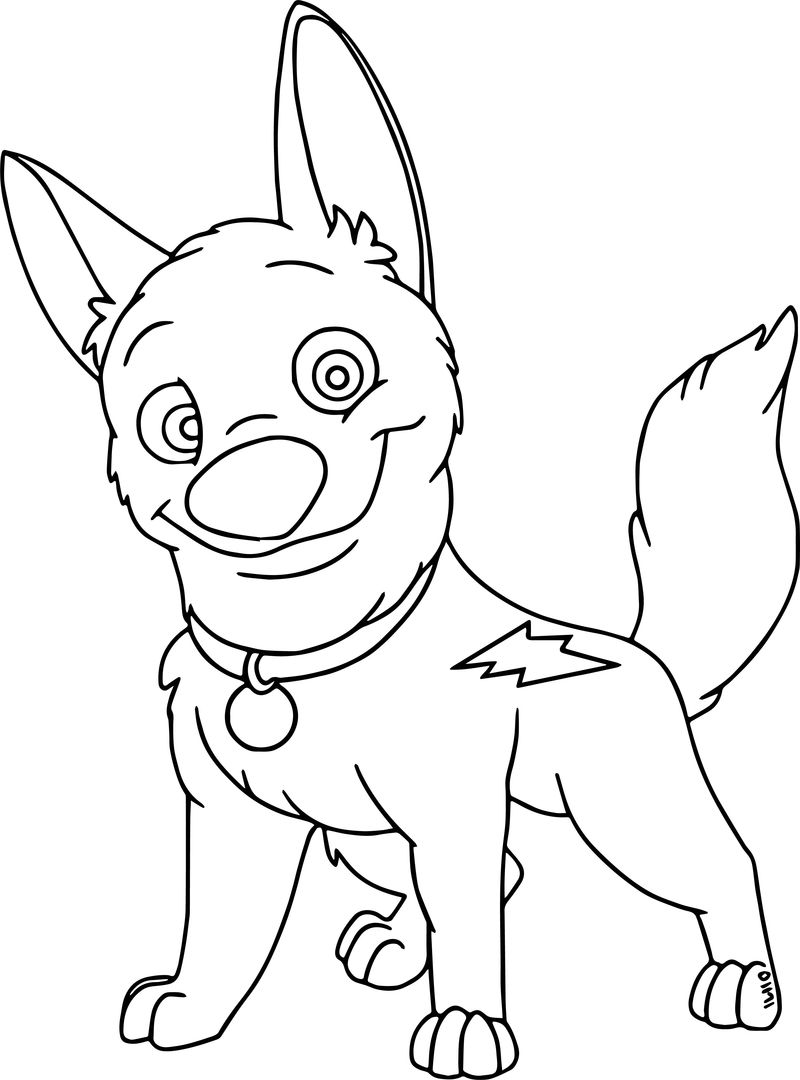 Cute Bolt Dog Coloring Pages