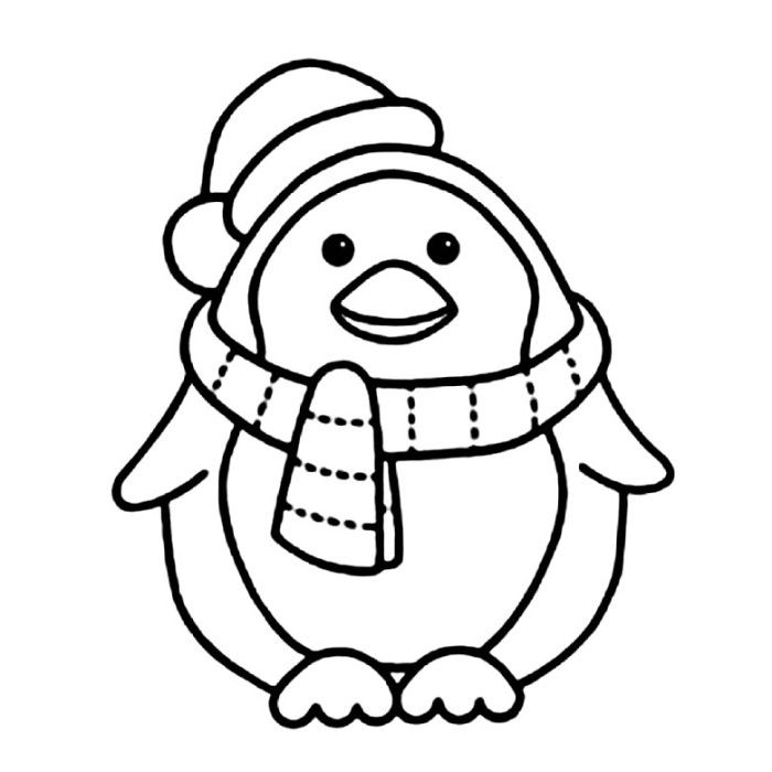 Cute Cartoon Penguin Coloring Pages