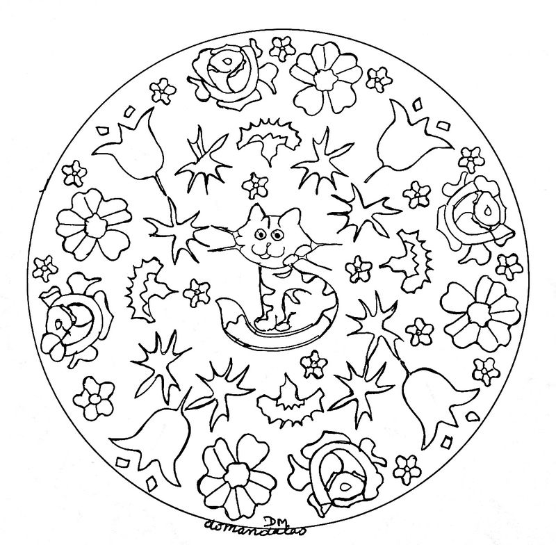Cute Cat And Flower Mandala Coloring Pages