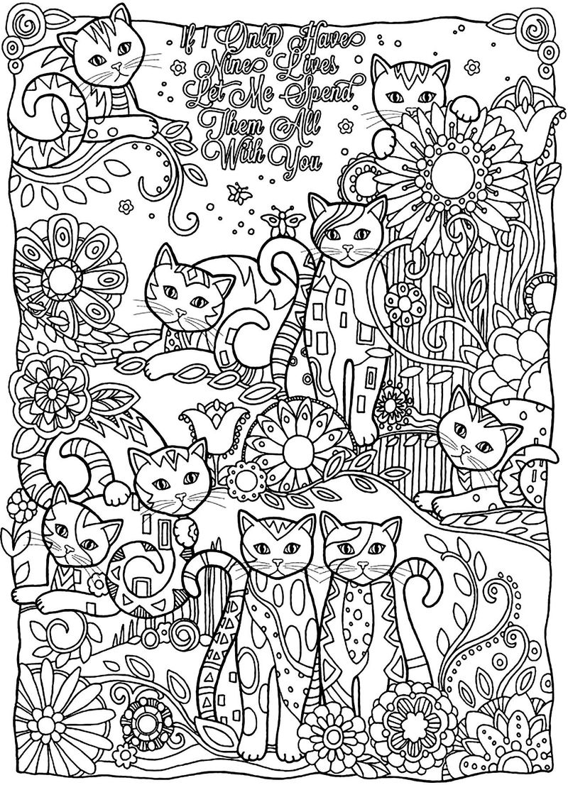 Cute Cat Coloring Pages For Adults