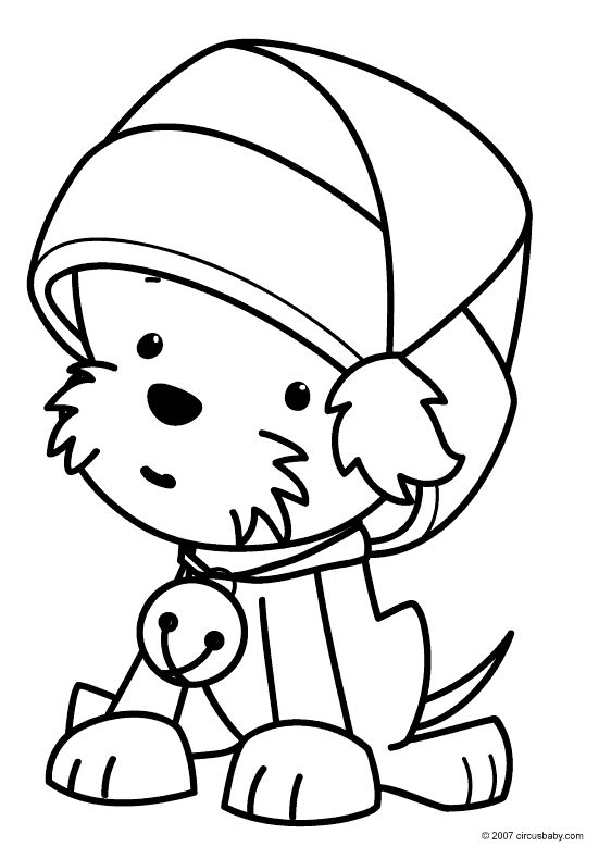 Cute Dog For Christmas Coloring Page For Preschoolers