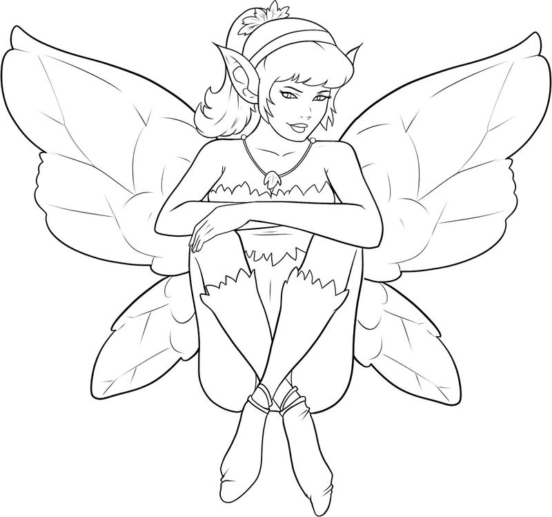 Cute Elf Fairy Coloring Page