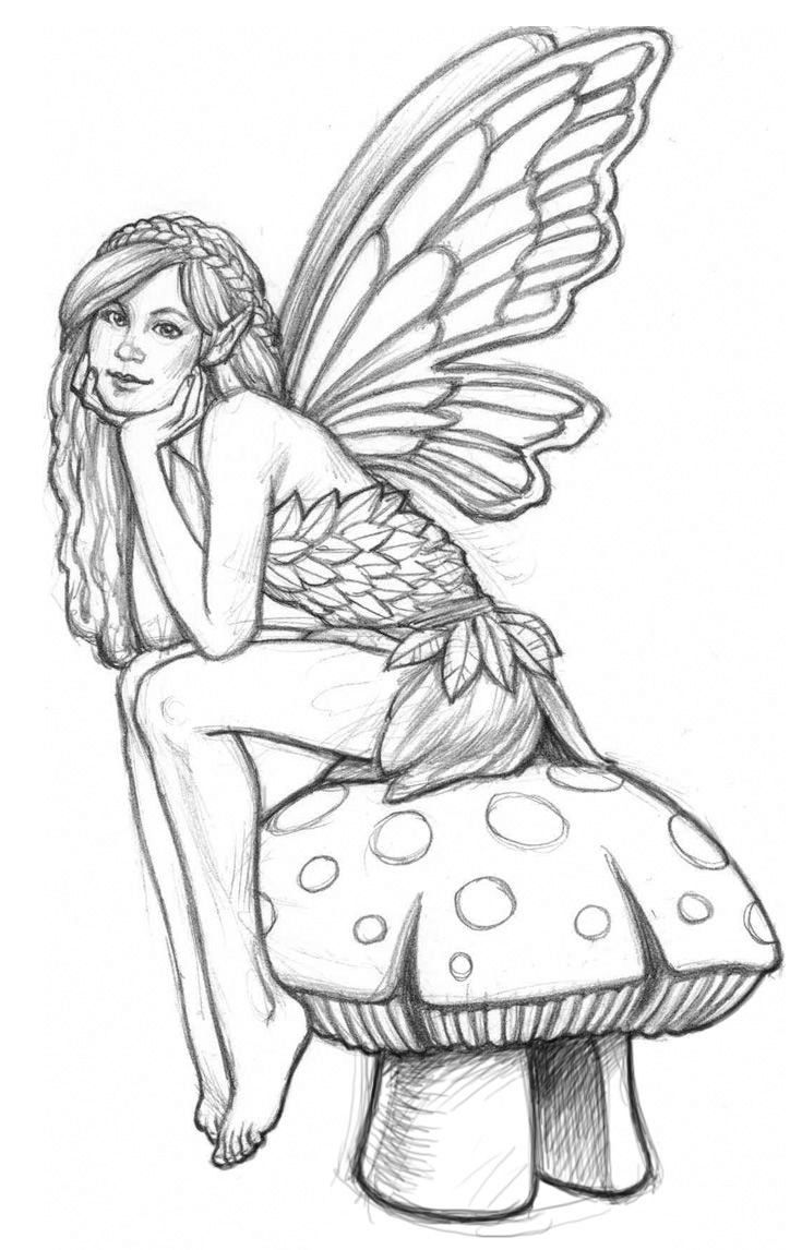 Cute Fairy Adult Coloring Page