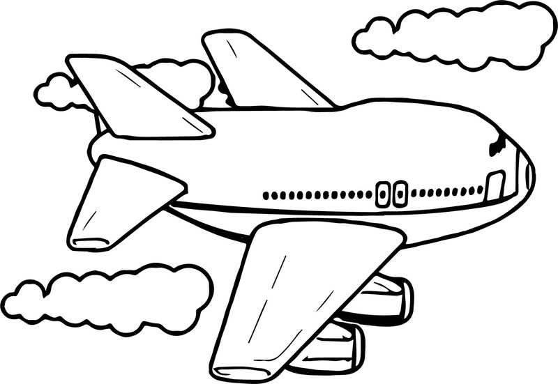 Cute Fly Airplane Coloring Page