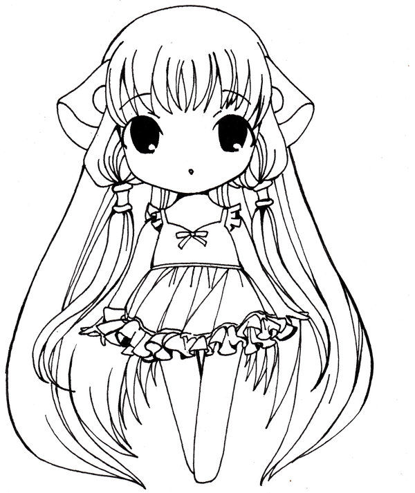 Cute Girl Anime Coloring Page 001