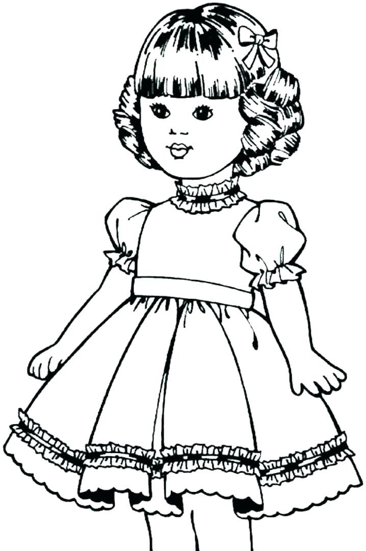 Cute Girl Doll Coloring Page