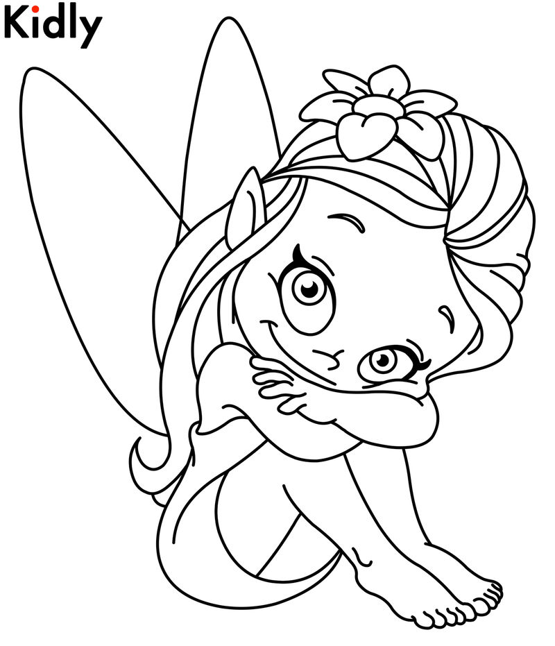 Cute girl fairy coloring page