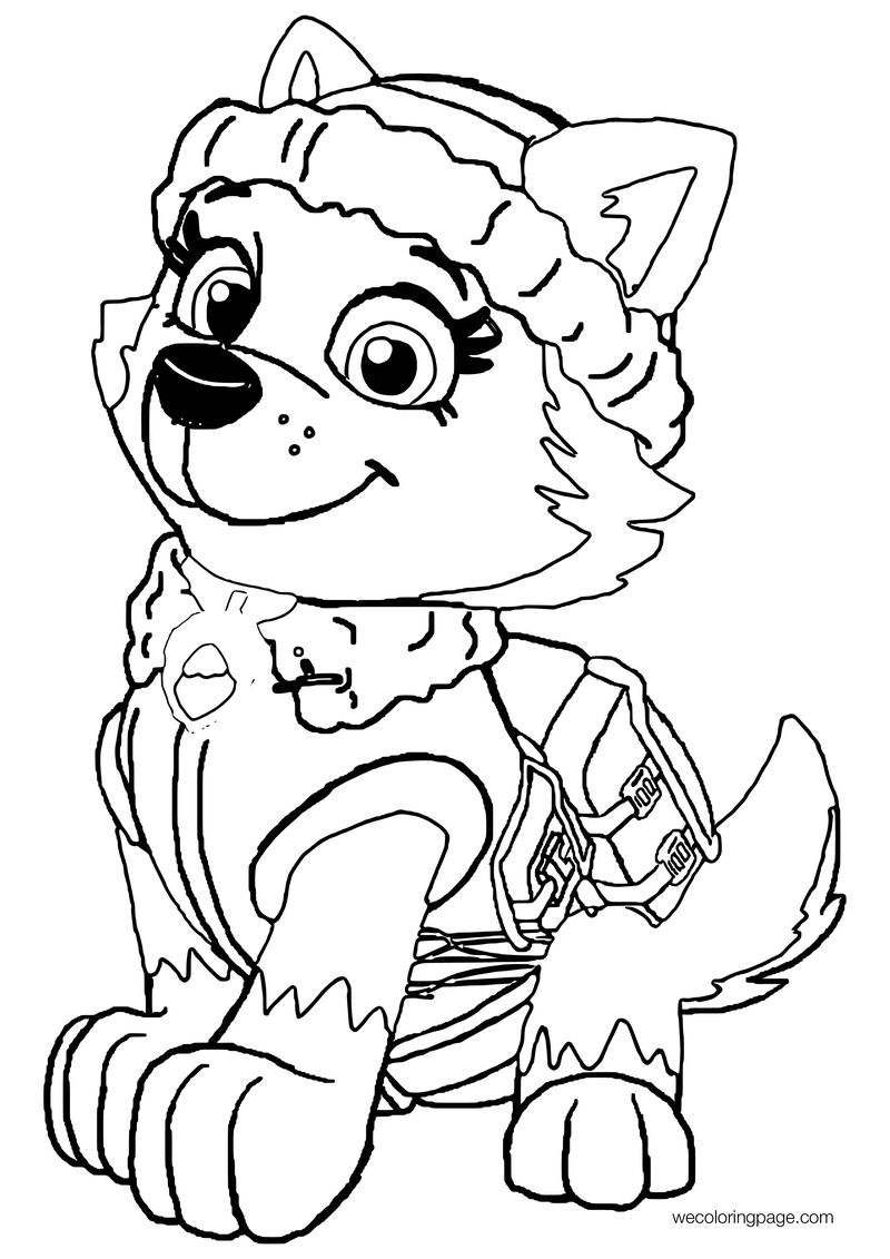Cute Girl Paw Patrol Snow Dog Coloring Page