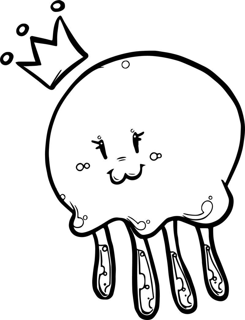 Cute Jellyfish Queen Coloring Page