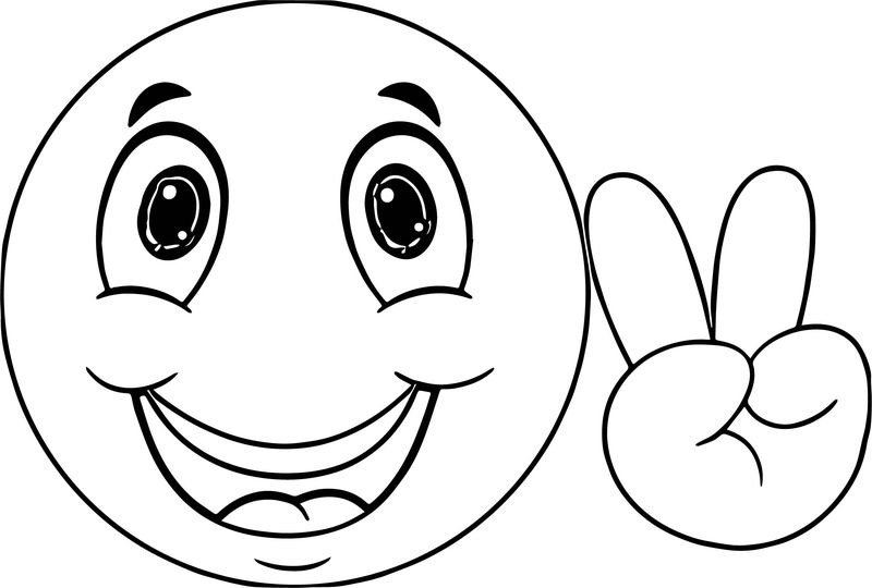 Cute Smile Emoticon Icons Face Coloring Page