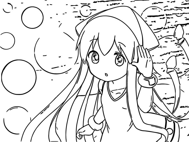 Cute Squid Girl Coloring Page 098