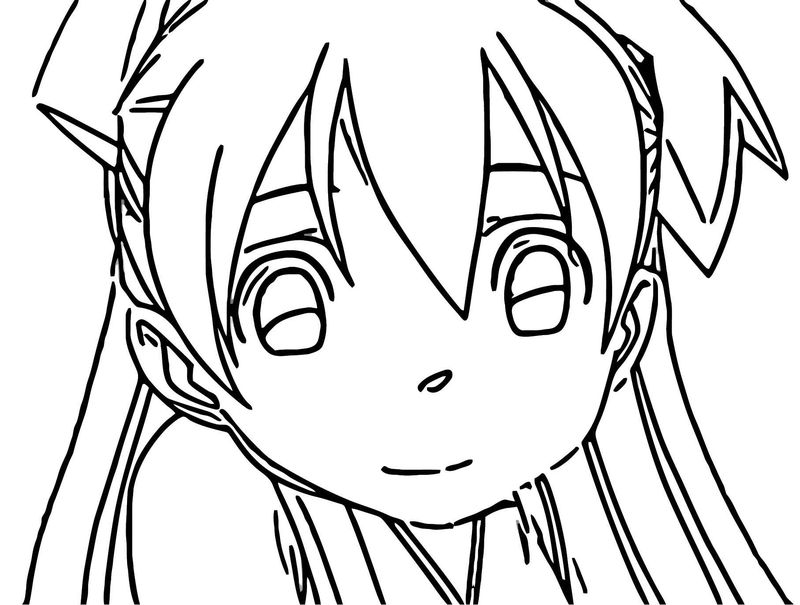 Cute Squid Girl Face Coloring Page 076
