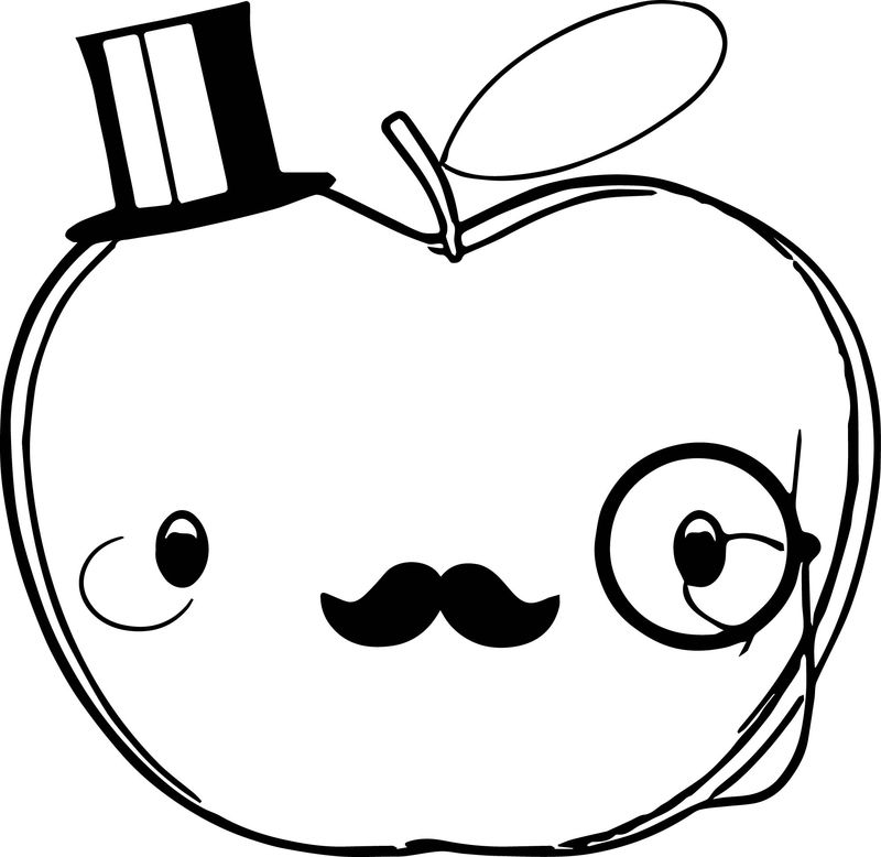 Cute Teacher Apple Original Coloring Page
