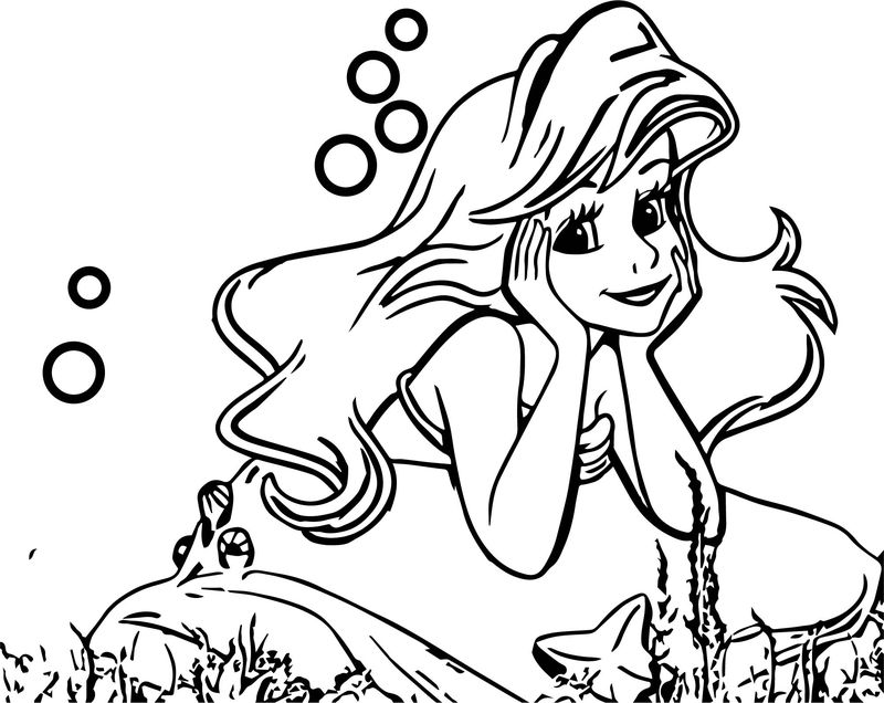 Cute Thinking Ariel Mermaid Coloring Page