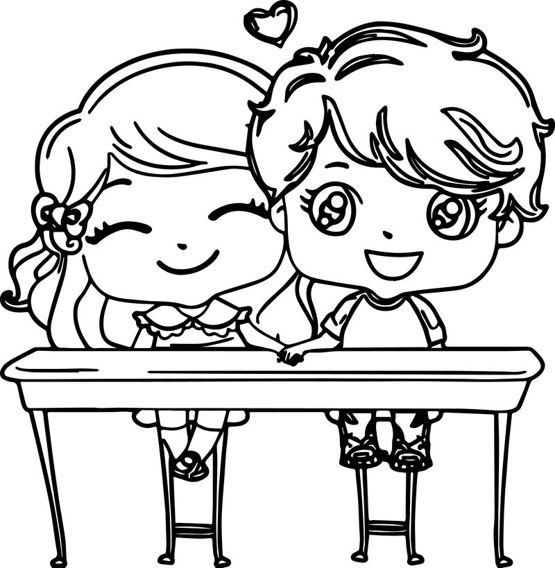Cute Valentine Kids Picture Coloring Page
