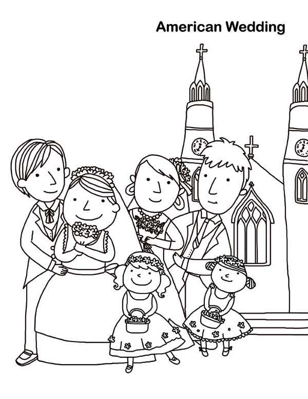 Cute Wedding Day Coloring Page