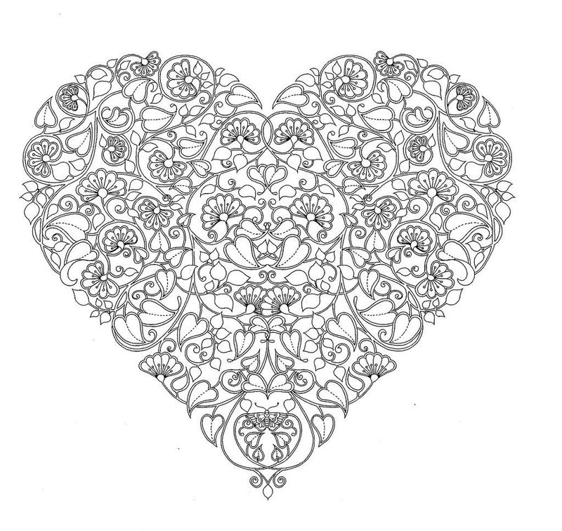 Dainty Flower Heart Coloring Page For Adults