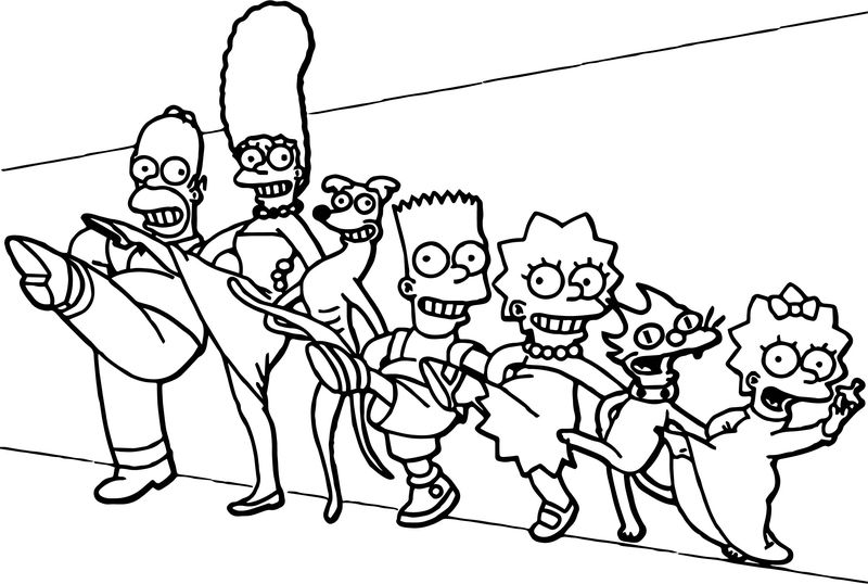 Dance The Simpsons Family Coloring Page