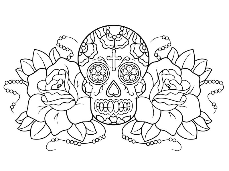 Day Of The Dead Coloring Art 001