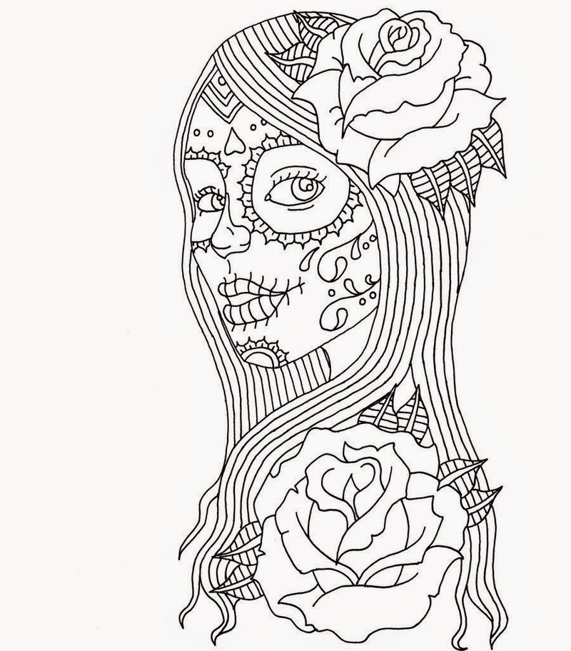Day Of The Dead Coloring Pages 002