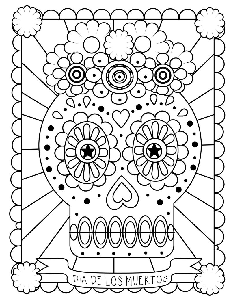 Day Of The Dead Coloring Pages Skulls 001