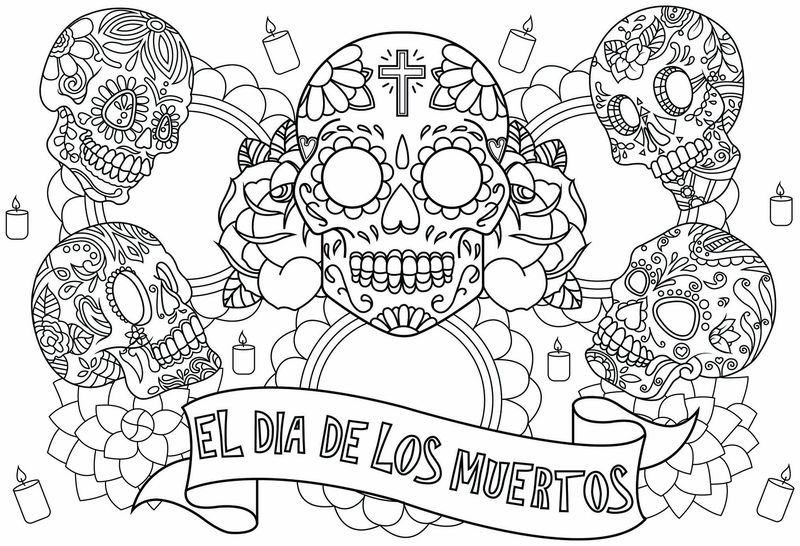 Day Of The Dead Skull Coloring Pages 001