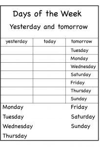 Days of the week worksheet for practice