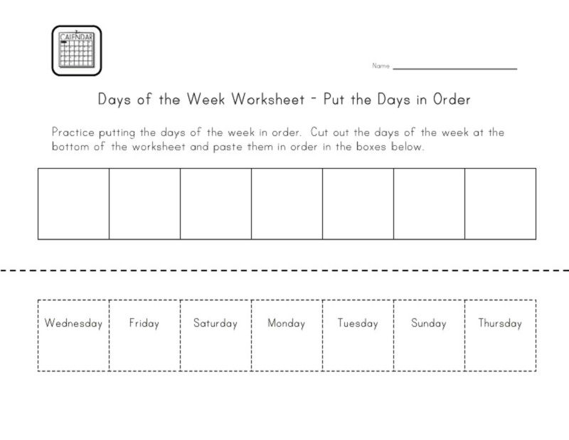 Days Of The Week Worksheets Activities