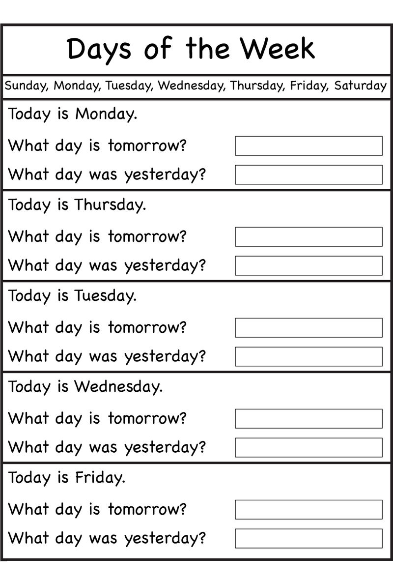 Days Of The Week Worksheets Kindergarten