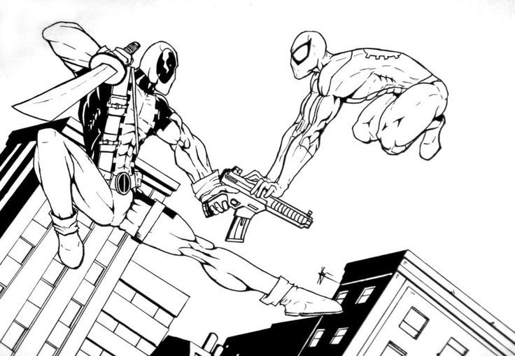 Deadpool Spiderman Coloring Page