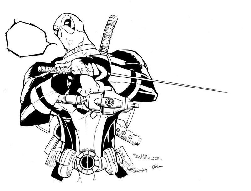 Deadpool Word Bubble Coloring Page