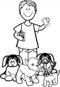 Deband pups boy tablet dogs coloring page
