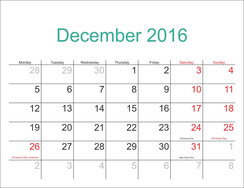 December Calendar 2016 With Holidays Page 001