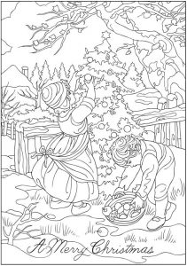Decorating christmas tree coloring page for adults