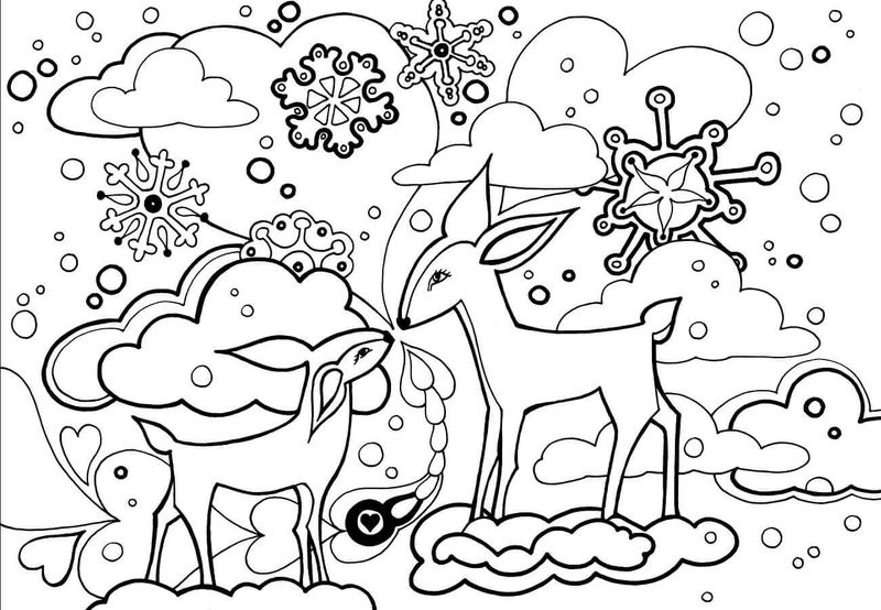 Deer In Winter Coloring Pages